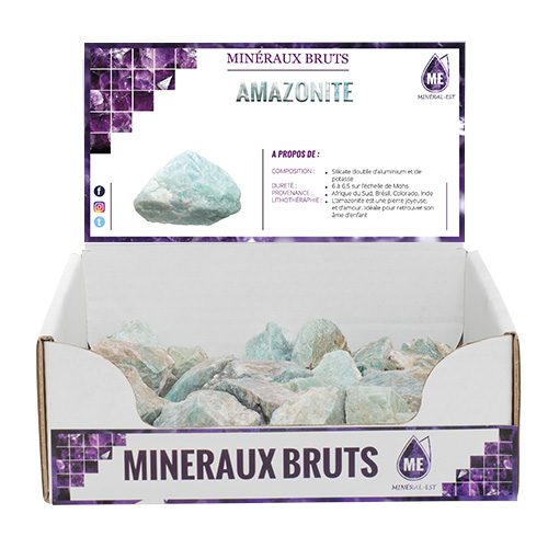 BOITE PRESENTOIR AMAZONITE 6X6CM x25pcs)
