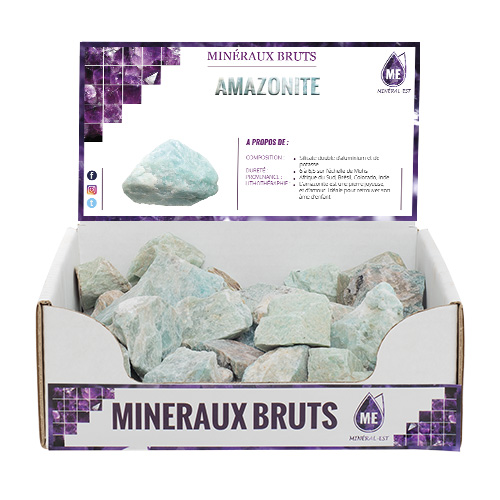 BOITE PRESENTOIR AMAZONITE 4X4CM (x35pcs)